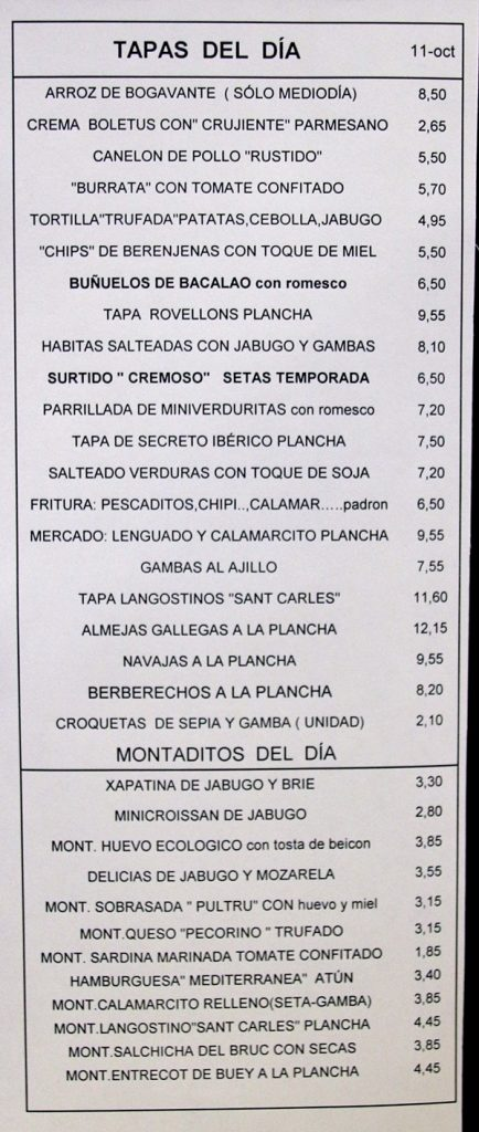 closeup of a restaurant menu