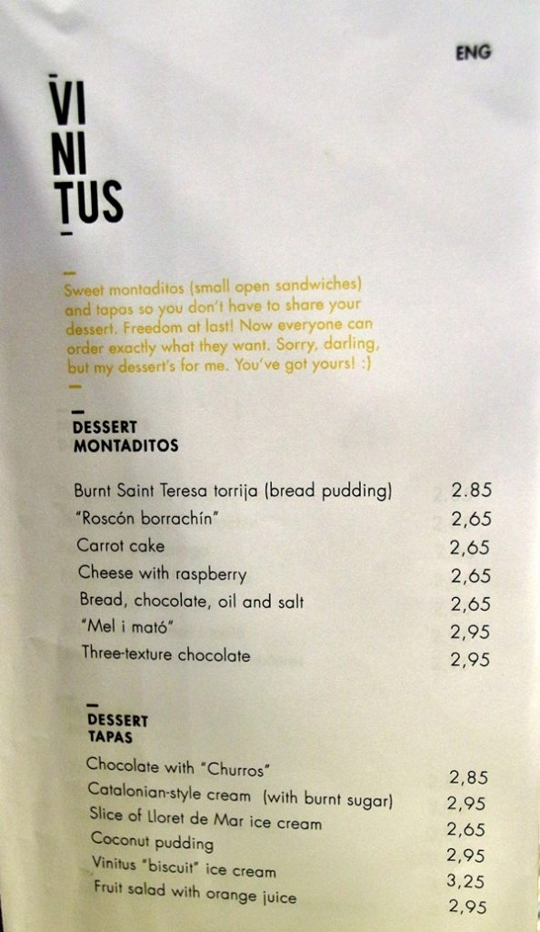 closeup of a dessert menu