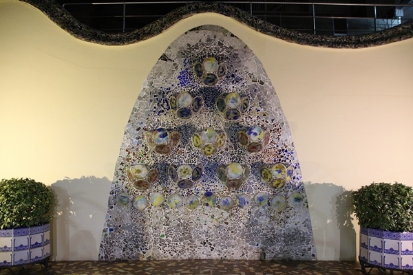 a mosaic decoration on a wall