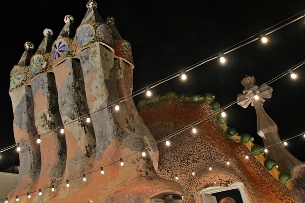 night view of the colorful mosaic Casa Batlló rooftop