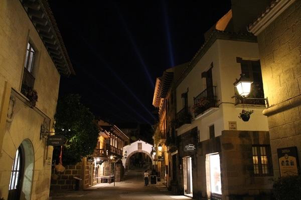 a quaint street at night