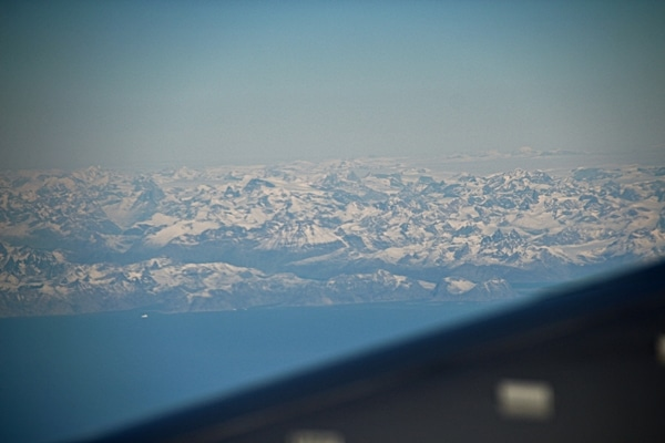 view of Greenland from an airplane window