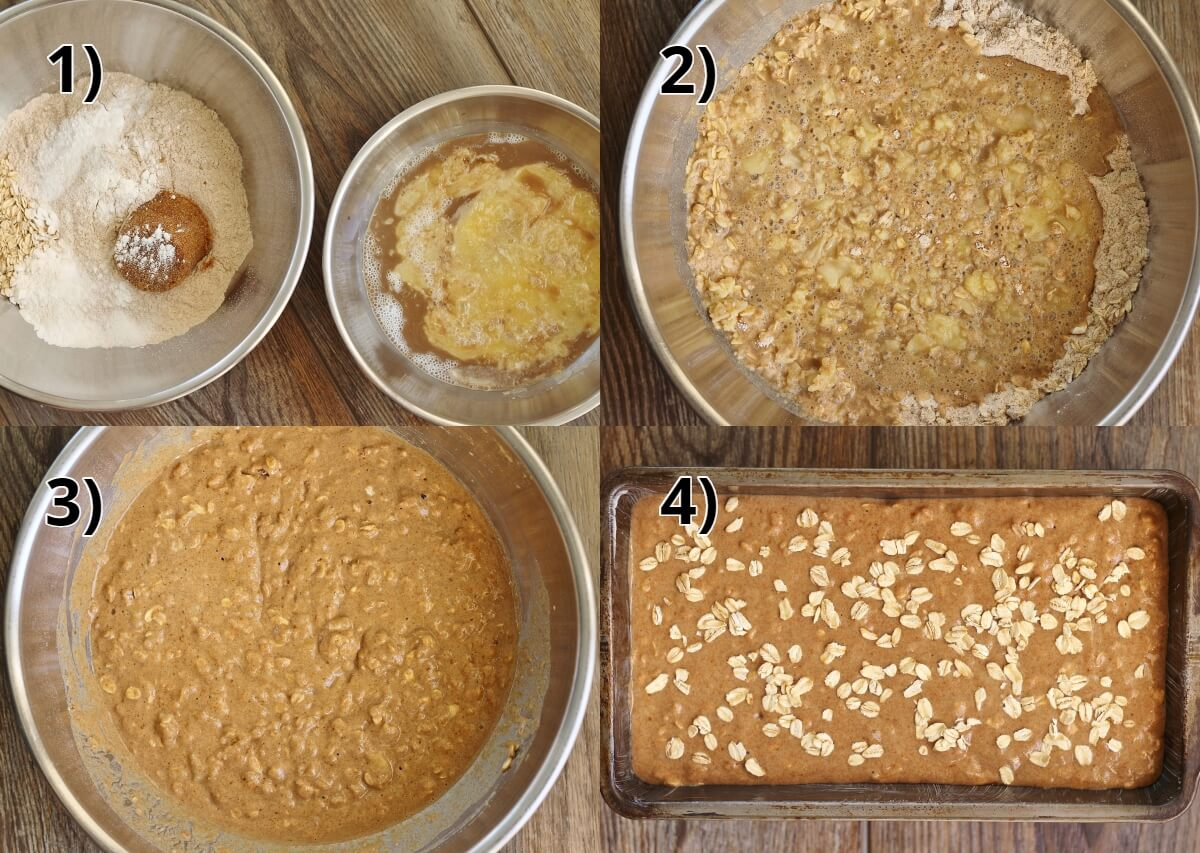 step by step photos of making Irish Guinness brown bread batter