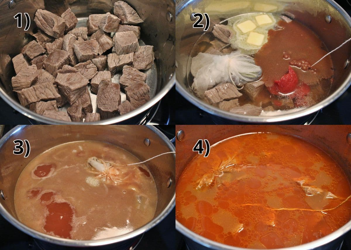 Step-by-step photos of how to cook Persian beef stew.