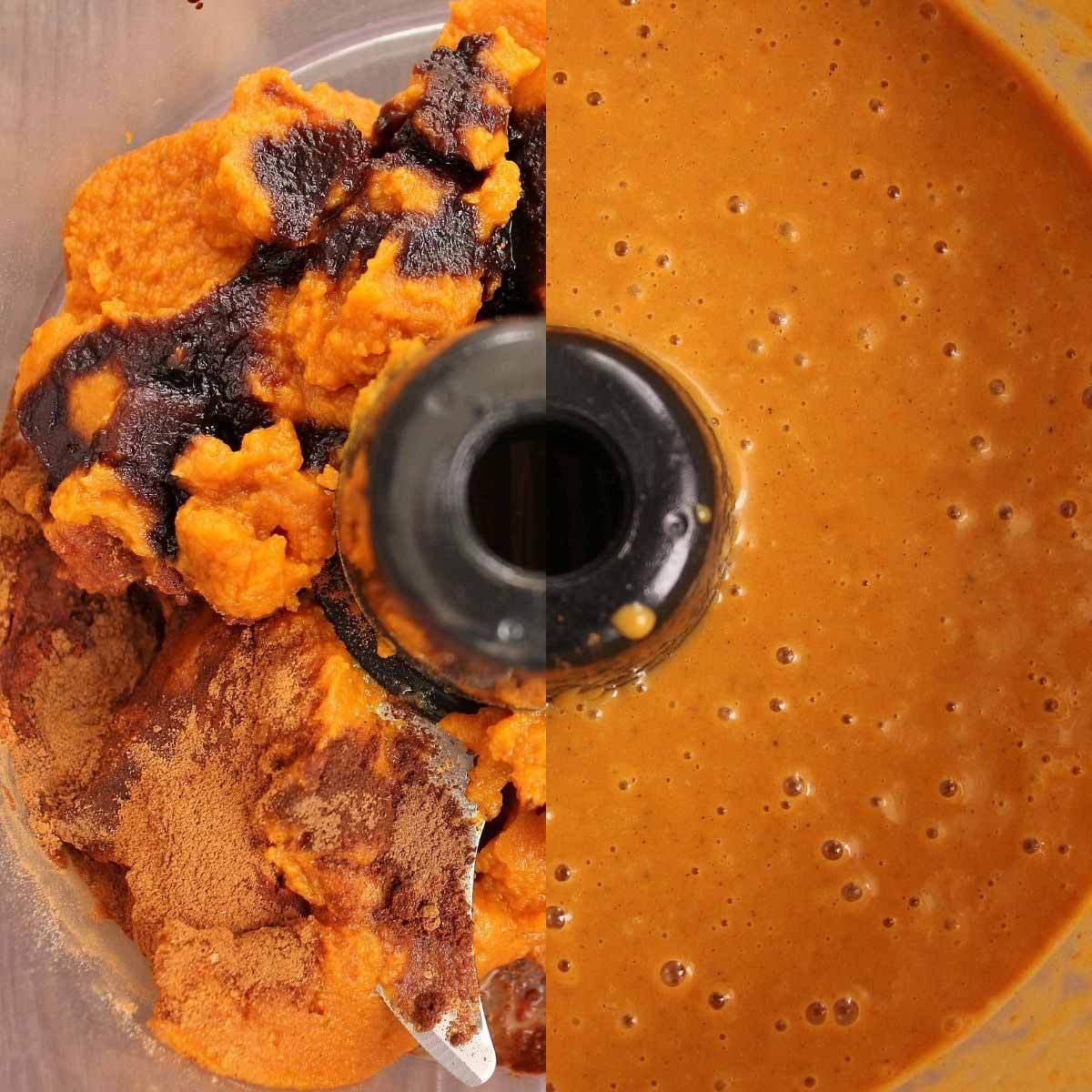 Before and after photos of homemade pumpkin pie filling in a food processor bowl.