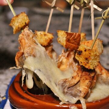 French onion soup dumplings with melted cheese
