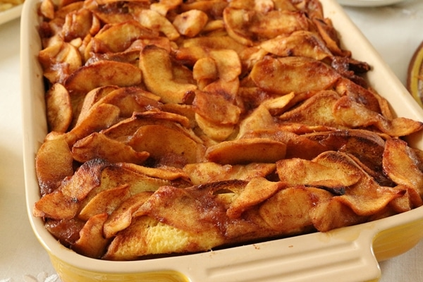 Baked apple french toast in a casserole dish