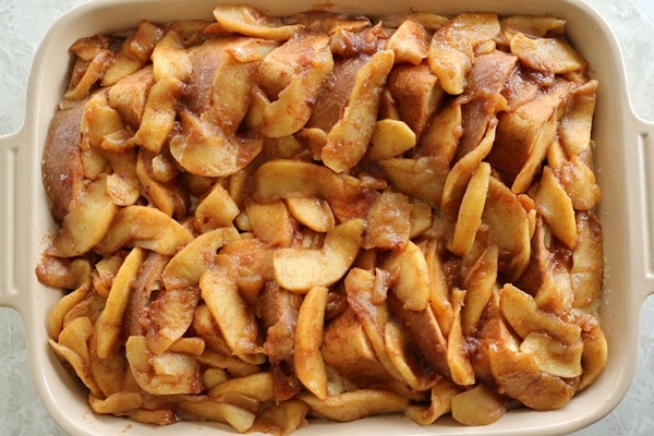apple french toast casserole before baking