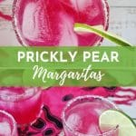 several glasses of pink margaritas garnished with salt rim and lime