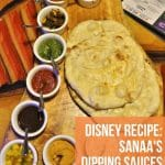 the bread service at Disney's Sanaa with a variety of dipping sauces