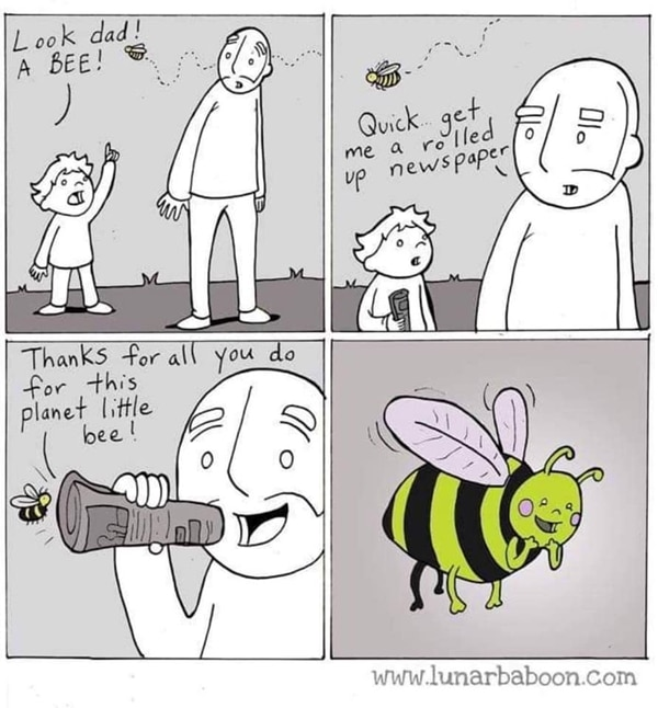 A close up of a cartoon about bees