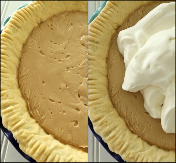 step by step photos topping a pie with whipped cream