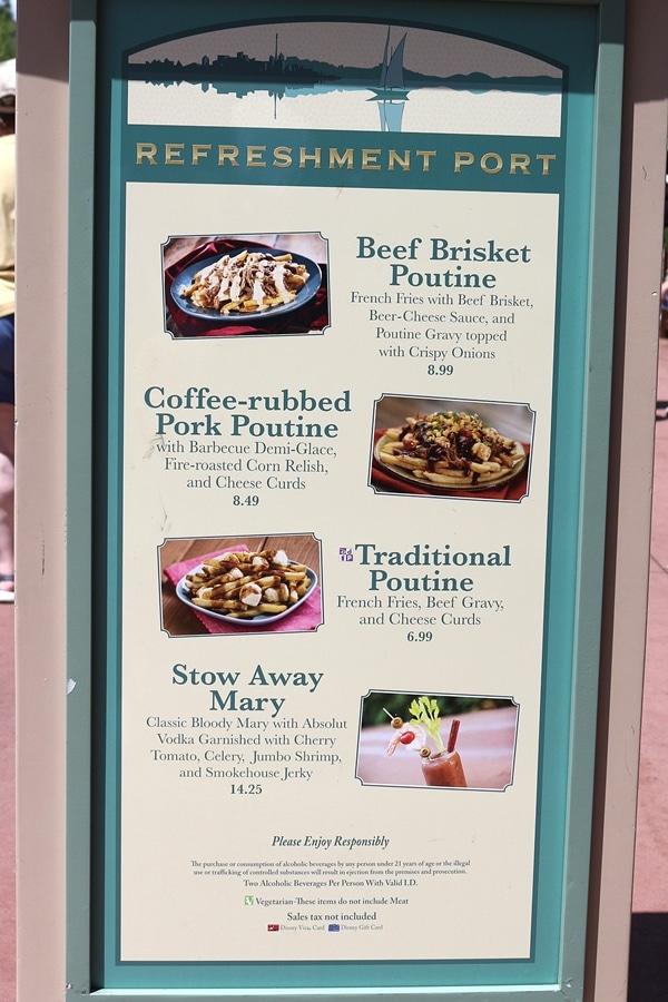 a menu board for Refreshment Port