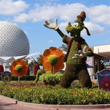 Topiaries and Spaceship Earth at Epcot's Flower and Garden Festival