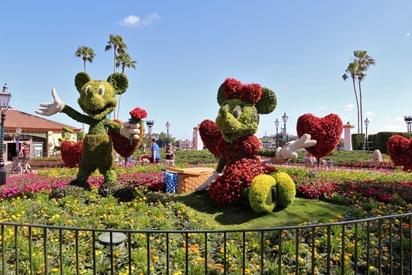 topiaries shaped like Mickey and Minnie Mouse