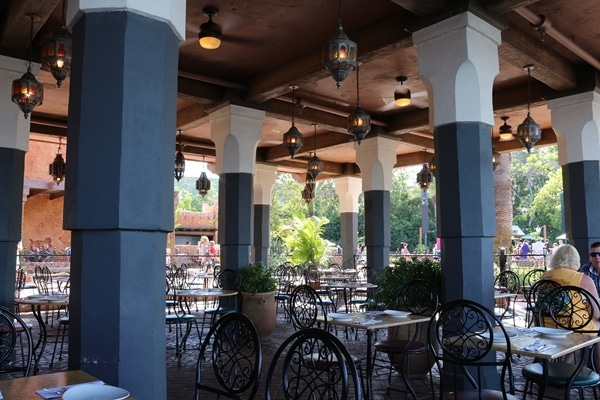 an outdoor dining room in a restaurant