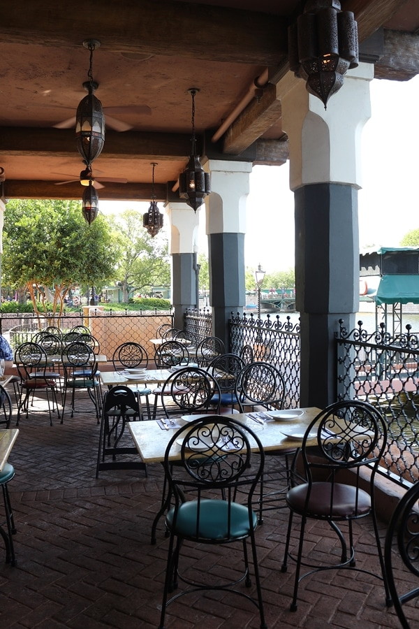 restaurant seating in an open-air dining room