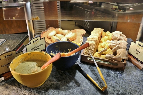 various breads in a buffet