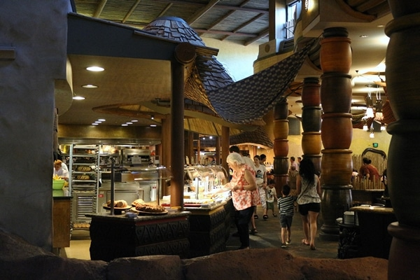 interior of a restaurant with a buffet
