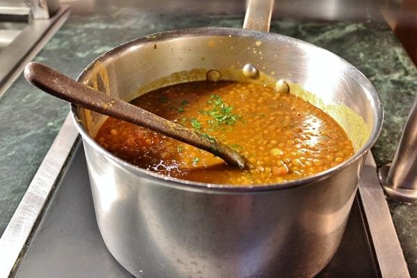 closeup of a pot of lentil soup