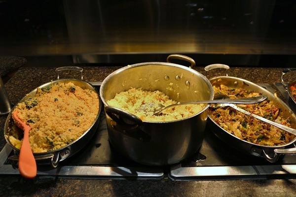 pots of food on a buffet line