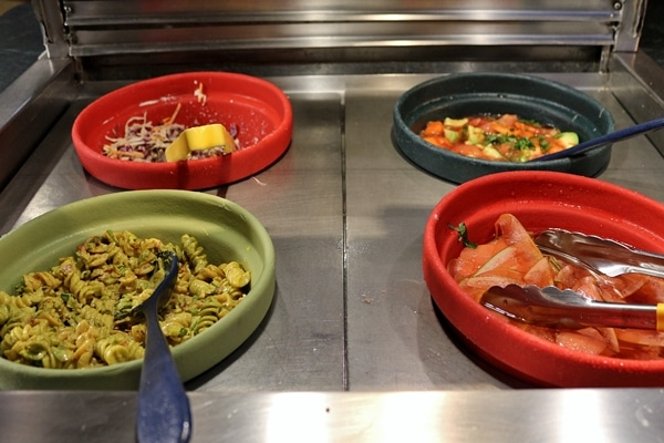 various foods on a buffet line