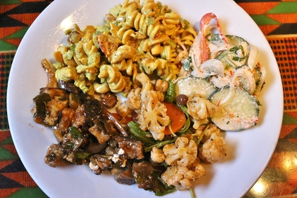 a plate of food from a buffet