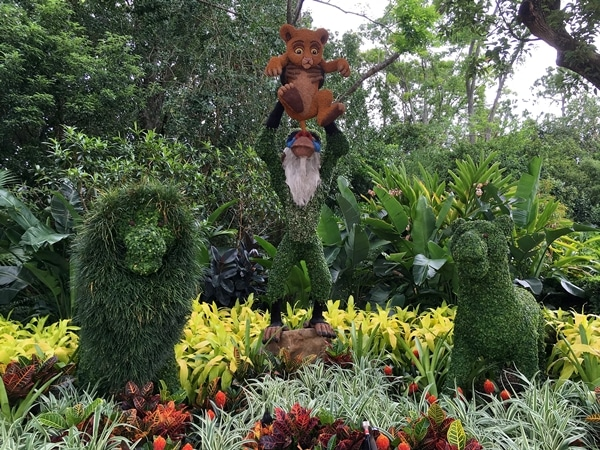 a topiary display of The Lion King characters