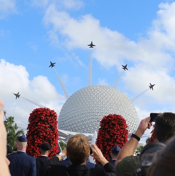 The Blue Angels flying over Spaceship Earth in Epcot