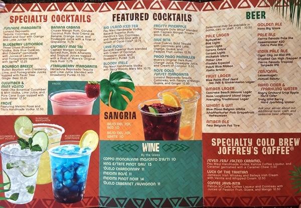 a colorful drink menu