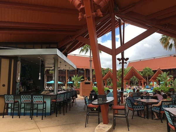 outdoor seating at a pool bar