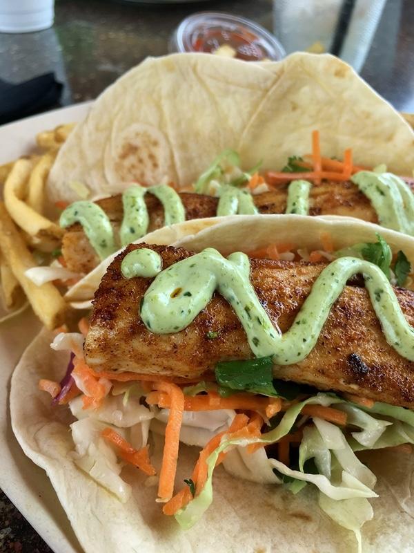closeup of a plate of fish tacos