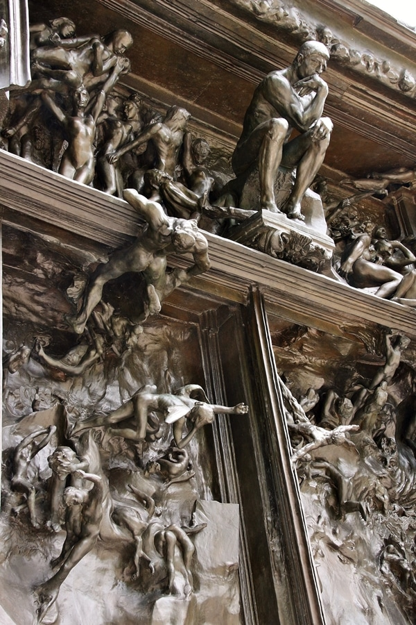 closeup of Rodin\'s Gates of Hell sculpture