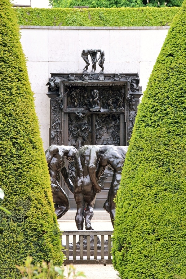 various sculptures in the Rodin Museum garden