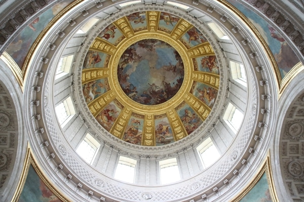 view looking up inside the large dome of Les Invalides