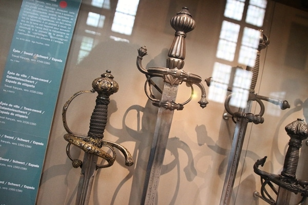 A close up of swords