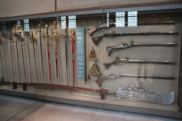 old weapons in a museum display
