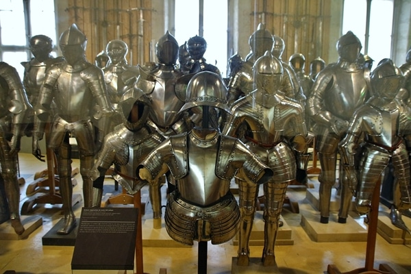 a room full of suits of armor