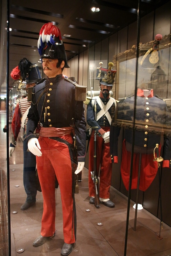 French military uniforms in a museum display