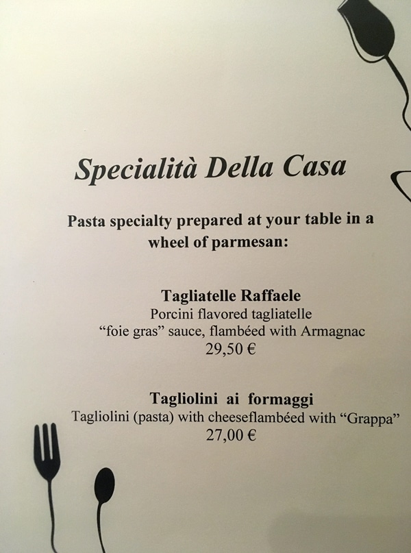 a menu with black text on a white background