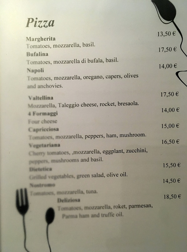 another page of a restaurant menu