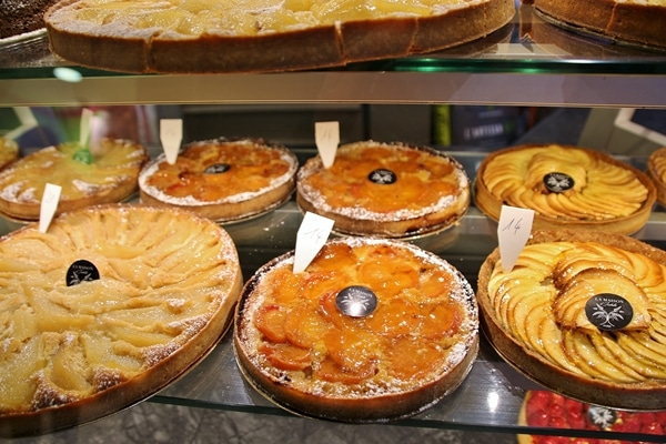 French tarts in a display case
