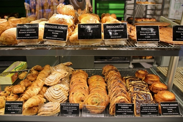 French breakfast pastries in a display case
