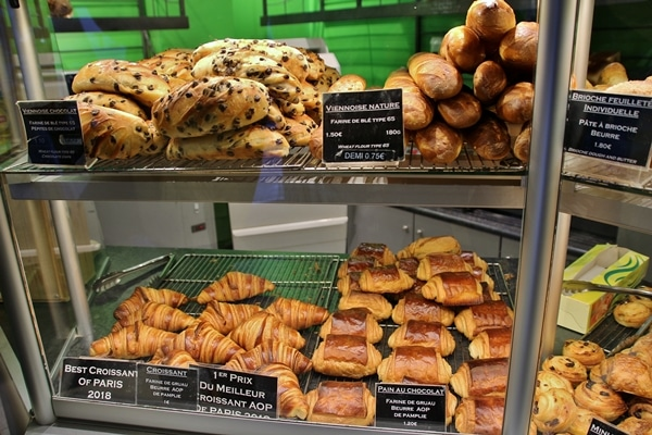 French breakfast pastries on display