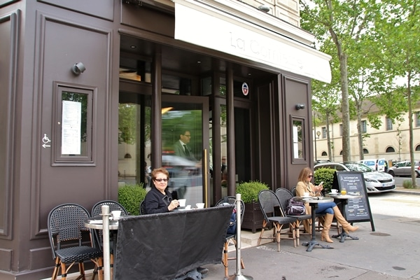 outdoor seating at a small sidewalk cafe