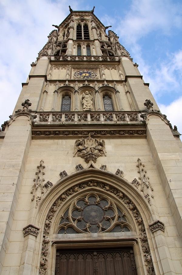 closeup of a church tower