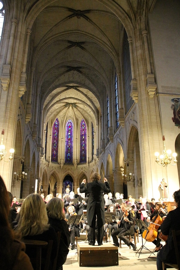 a small orchestra in the nave of a church