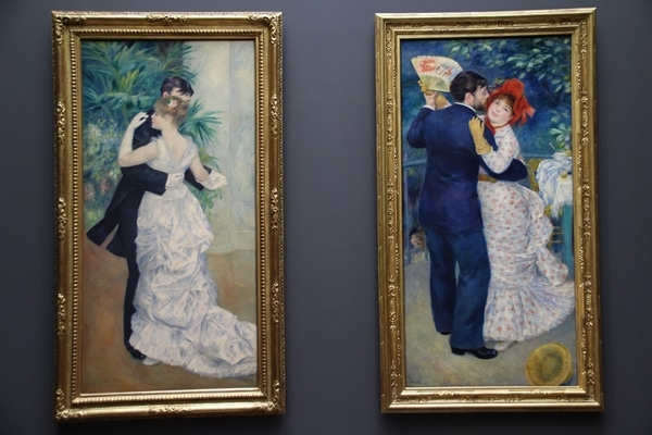 2 paintings of couples dancing