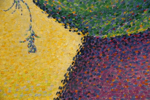 closeup of a colorful painting with small brush strokes