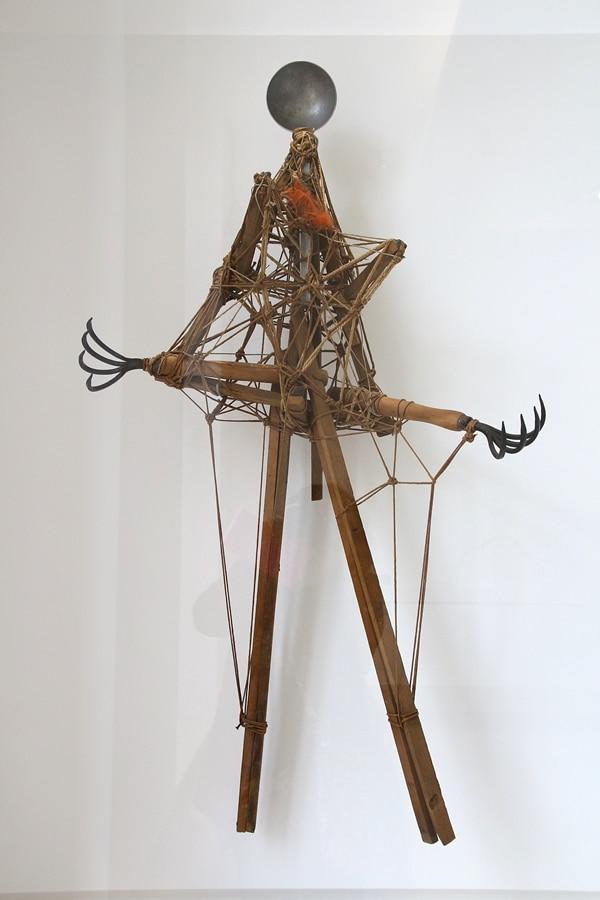 an unusual sculpture in an art museum